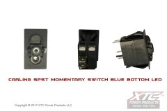 Momentary Switch with Bottom Blue LED, SPST (ON) - OFF, No Rocker/Actuator