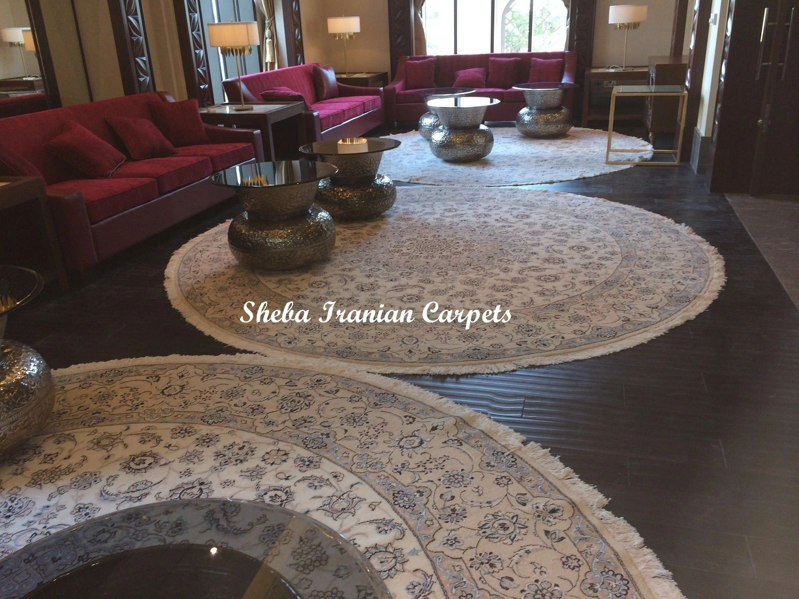 Round carpets collection at Sheba Iranian Carpets Stores.