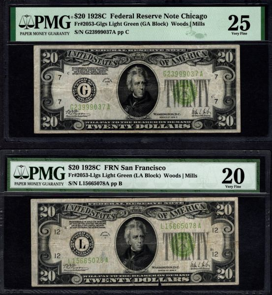 Lot of Two 1928C $20 FRN Chicago & San Francisco PMG 25 & PMG 20 Fr.2053-G/L Complete Two Note Series Set Item #L0001