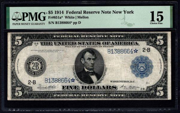 1914 $5 STAR New York FRN PMG 15 Fr.851a* Item #1992039-001