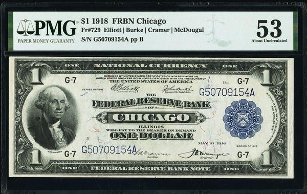 1918 $1 Chicago FRBN PMG 53 Fr.729 Item #1961568-015