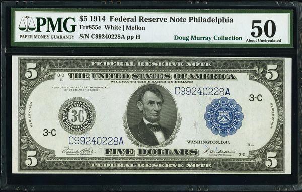 1914 $5 Philadelphia FRN PMG 50 Fr.855c Item #1740796-018