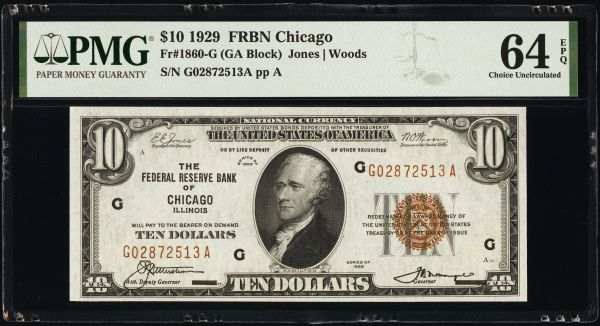 1929 $10 Chicago FRBN PMG 64 EPQ Fr.1860-G Item #2017938-003