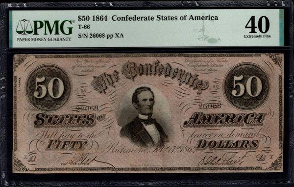1864 $50 T-66 Confederate Currency PMG 40 Jefferson Davis Civil War Note Item #1992512-037