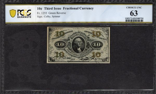 Third Issue 10 Cents PCGS 63 Fr.1255 Item #41009701
