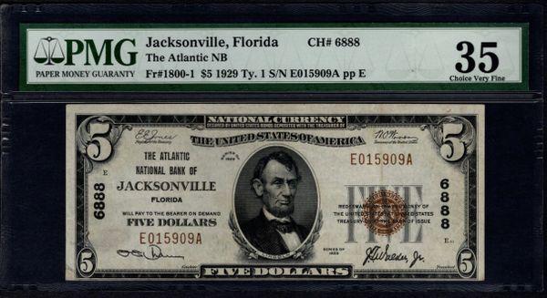 1929 $5 The Atlantic National Bank of Jacksonville Florida PMG 35 Fr.1800-1 Charter CH#6888 Item #1197330-006