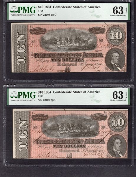 Lot of Two Consecutive 1864 $10 T-68 Confederate Notes PMG 63 EPQ Item #1992511-046/047