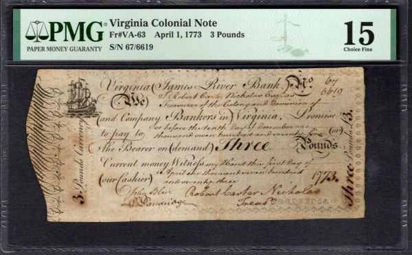 1773 Virginia Colonial Currency PMG 15 VA-63 James River Bank 3 Pounds Item #2011343-011