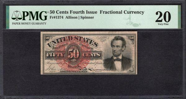 Fourth Issue 50 Cents PMG 20 EPQ Fr.1374 Abraham Lincoln Item #1991909-001