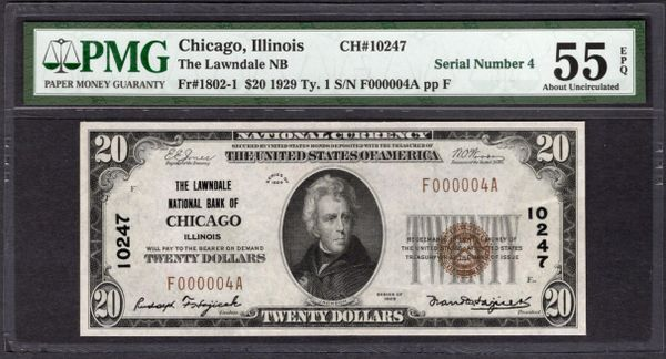 1929 $20 Lawndale National Bank of Chicago Illinois PMG 55 EPQ Fr.1802-1 Single Digit Serial Number 4 CH#10247 Item #1888599-021