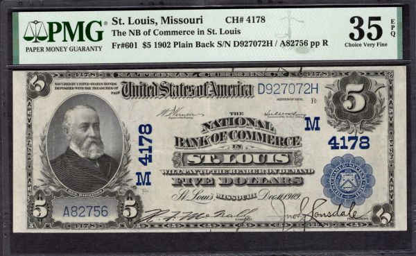 1902 $5 The National Bank of Commerce St. Louis Missouri PMG 35 EPQ Fr.601 Charter CH#4178 Item #5005057-020