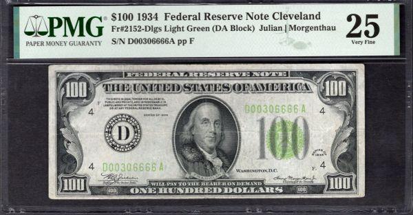1934 $100 Cleveland FRN PMG 25 Fr.2152-Dlgs LGS Light Green Seal Item #1992466-006