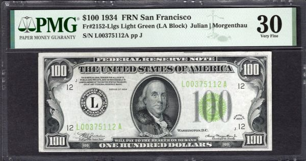 1934 $100 San Francisco FRN PMG 30 Fr.2152-Llgs LGS Light Green Seal Item #1992466-005