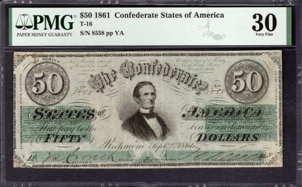 1861 $50 T-16 Confederate Currency PMG 30 Jefferson Davis Civil War Note Item #2017944-006