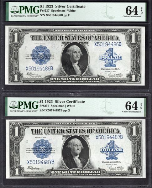 Lot of Two Consecutive 1923 $1 Silver Certificates PMG 64 EPQ Fr.237 Item #1992640-009/010
