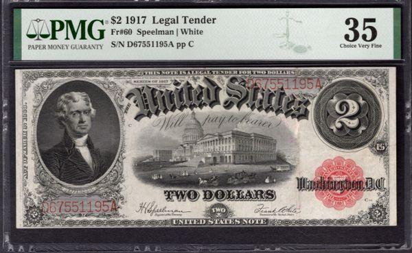 1917 $2 Legal Tender PMG 35 Fr.60 Item #1992580-017