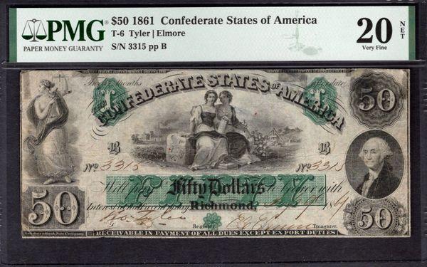 1861 $50 T-6 Confederate Currency PMG 20 NET Civil War Note Item #1991415-001