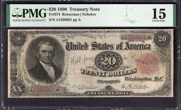 1890 $20 Treasury Note PMG 15 Fr.374 Item #2011508-008