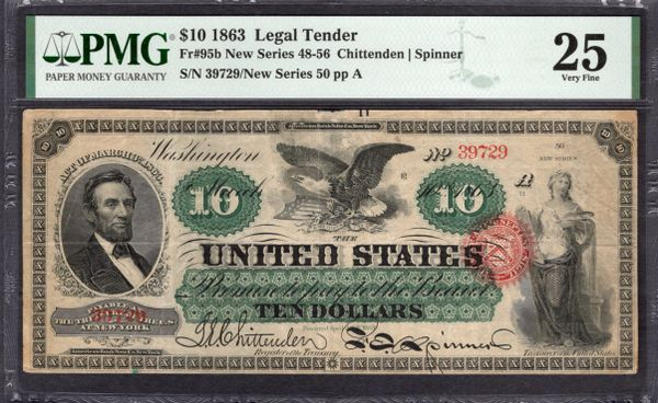 1863 $10 Legal Tender PMG 25 Fr.95b Item #2011483-008