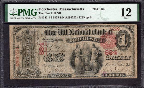 1875 $1 The Blue Hill National Bank of Dorchester Massachusetts PMG 12 Fr.383 Charter CH#684 Item #1991754-006