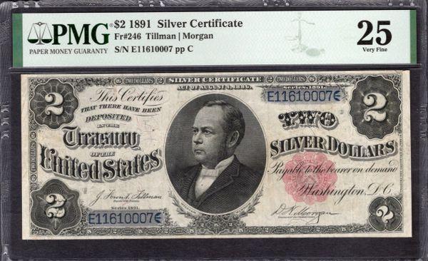 1891 $2 Silver Certificate Windom Note PMG 25 Fr.246 Item #2011508-015