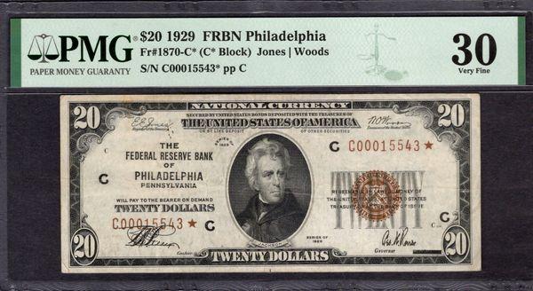 1929 $20 STAR Philadelphia FRBN PMG 30 Fr.1870-C* Item #1992028-002