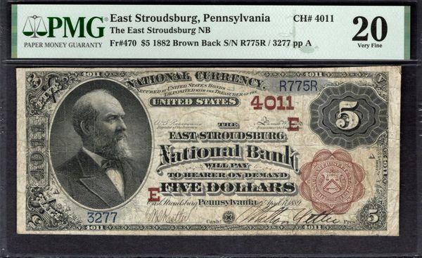 1882 $5 East Stroudsburg National Bank of Pennsylvania PMG 20 Fr.470 Charter CH#4011 Item #1992916-012