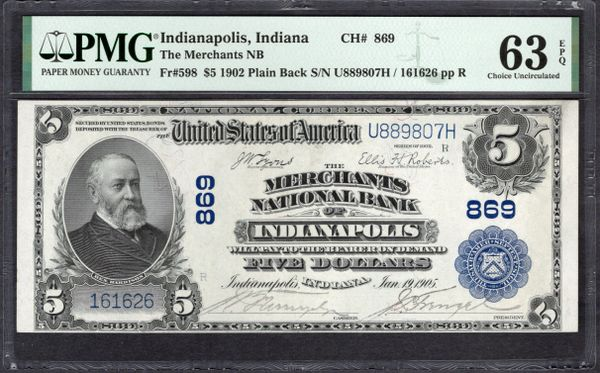 1902 $5 Merchants National Bank of Indianapolis Indiana PMG 63 EPQ Fr.598 Charter CH#869 Item #1993057-019