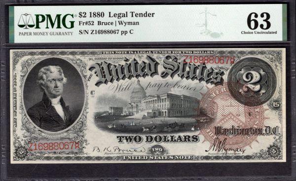 1880 $2 Legal Tender PMG 63 Fr.52 Item #8077308-009