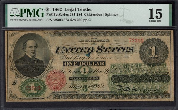 1862 $1 Legal Tender PMG 15 Fr.16c Item #1992840-002