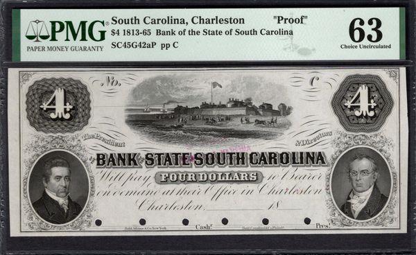 1813-1865 $4 Charleston South Carolina PROOF Note PMG 63 Item #1991493-008