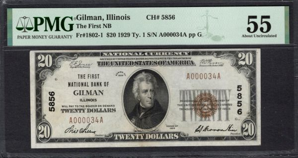 1929 $20 The First National Bank Gilman Illinois PMG 55 Fr.1802-1 CH#5856 2-Digit Serial Number Item #2011268-002