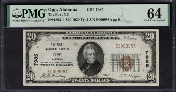 1929 $20 The First National Bank of Opp Alabama PMG 64 Fr.1802-1 Charter CH#7985 Item #1992656-015
