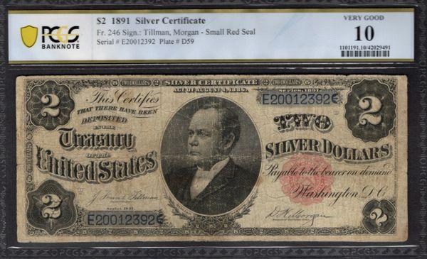 1891 $2 Silver Certificate Windom Note PCGS 10 Fr.246 Item #42029491