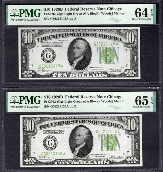 Lot of Six Consecutive 1928B $10 Chicago FRNs PMG 63,64,64,64,64,65 EPQ Fr.2002-Glgs Light Green Seals Item #1992528-044/049