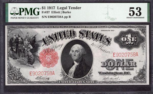 1917 $1 Legal Tender PMG 53 Fr.37 Item #2011292-004