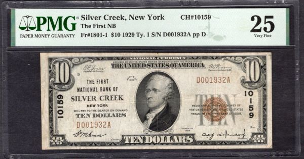 1929 $10 The First National Bank of Silver Creek New York PMG 25 Fr.1801-1 Charter CH#10159 Item #8082737-002