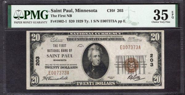 1929 $20 The First National Bank of Saint Paul Minnesota PMG 35 EPQ Fr.1802-1 Charter CH#203 Item #8077339-003