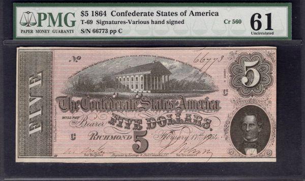 1864 $5 T-69 Confederate Currency PMG 61 Civil War Note Item #1002790-030