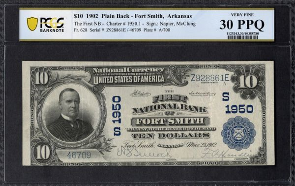 1902 $10 The First National Bank of Fort Smith Arkansas PCGS 30 PPQ Fr.628 Charter CH#1950 Item #40388780