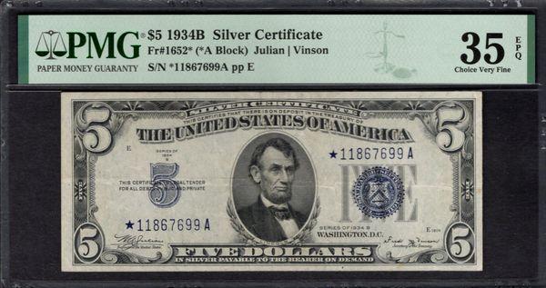 1934B $5 STAR Silver Certificate PMG 35 EPQ Fr.1652* Item #1991985-040