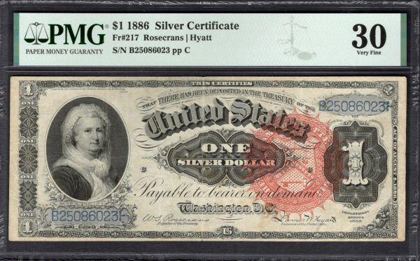 1886 $1 Silver Certificate Martha Note PMG 30 Fr.217 Item #8089328-002