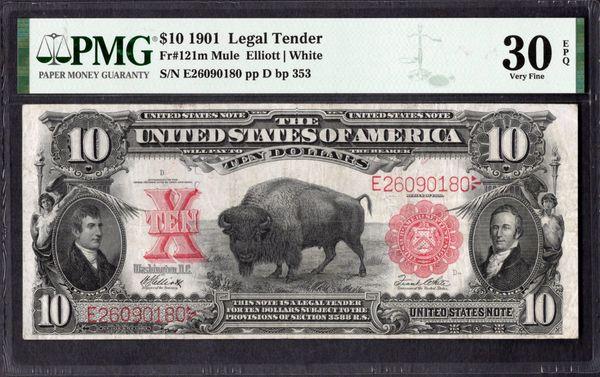 1901 $10 Legal Tender Bison Note PMG 30 EPQ Fr.121m Item #1961571-001