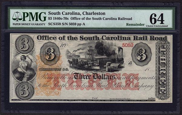 1840's - 1870's $3 Office of the South Carolina Rail Road Charleston PMG 64 with Train Scene Item #8029088-005