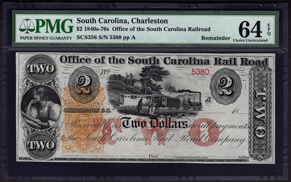 1840's - 1870's $2 Office of the South Carolina Rail Road Charleston PMG 64 EPQ with Train Scene Item #8029088-004