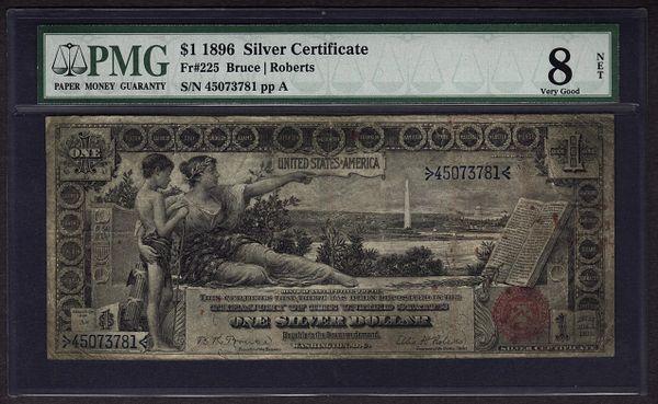 1896 $1 Silver Certificate Educational Note PMG 8 VG NET Fr.225 Item #1114105-007