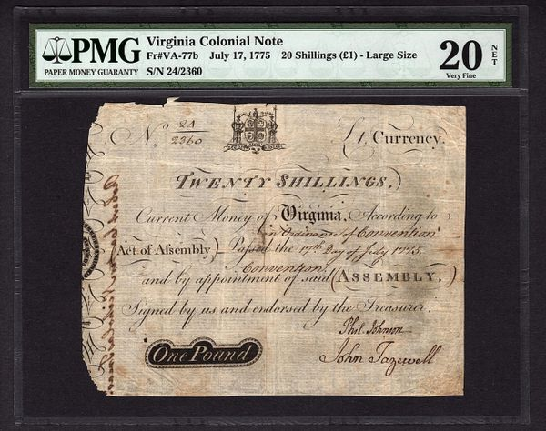 1775 Virginia Colonial Currency PMG 20 NET Fr.VA-77b 20s One 1 Pound Large Size Note Item #5011848-001