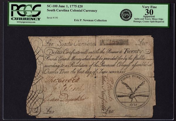 1775 South Carolina Colonial Currency PCGS 30 APPARENT SC-100 Twenty 20 Pounds Eric P. Newman Large Size Note Item #80611028