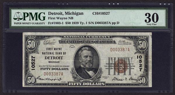 1929 $50 Detroit Michigan PMG 30 Charter CH#10527 First Wayne NB Fr.1803-1 Item #5004417-020