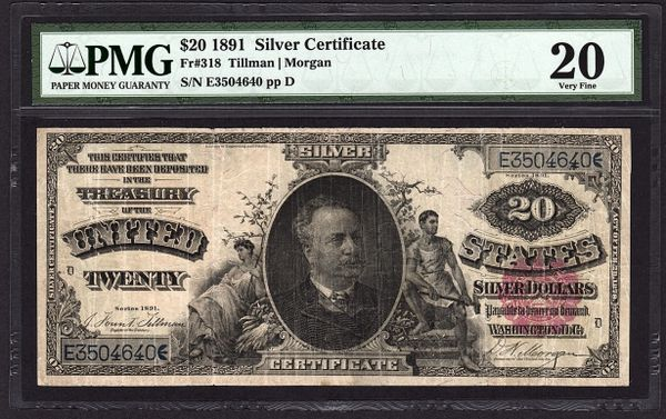 1891 $20 Silver Certificate Manning Note PMG 20 Fr.318 Item #2506269-014